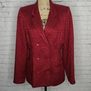 Nicole Miller NYC Red Patterned Blazer Union Made